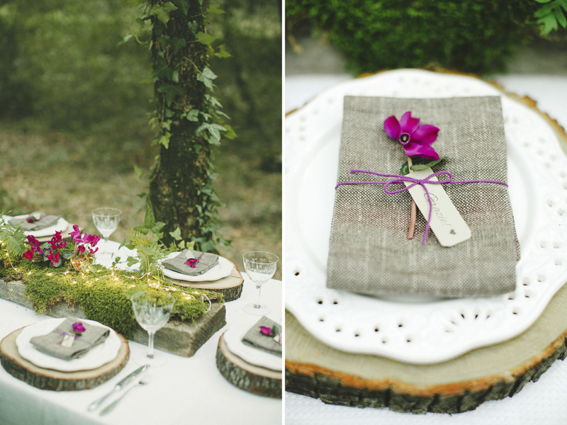stunning country wedding detail tables in the Sardinian woods