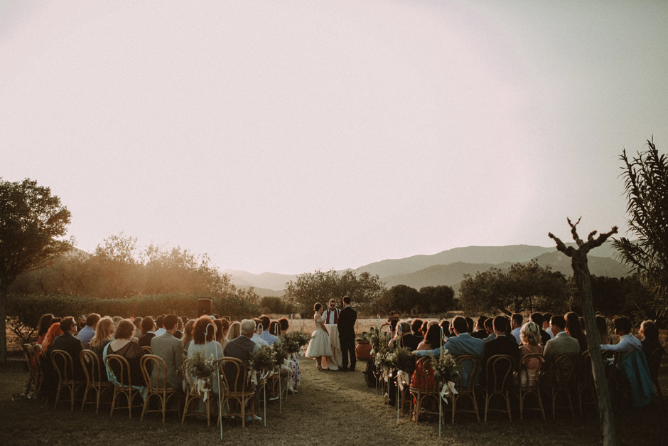 beautiful sunset light ceremony at Corte Noa's garden
