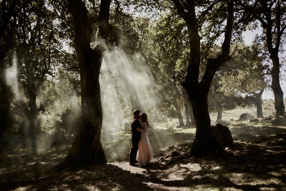 the ceremony inside the woods