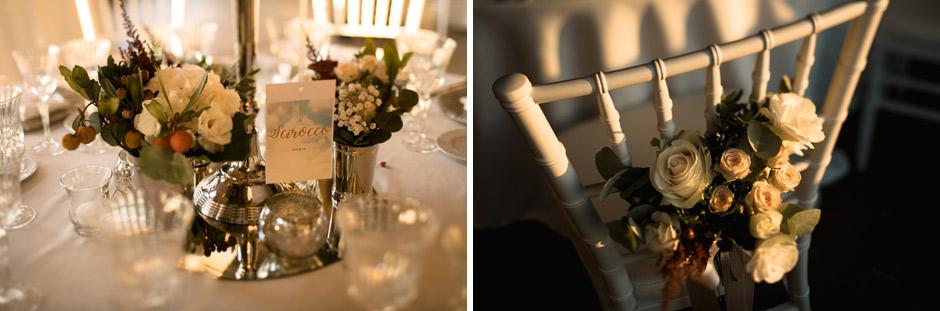 i dettagli dei tavoli per la cena di Simona e Andrea presso la fornace
