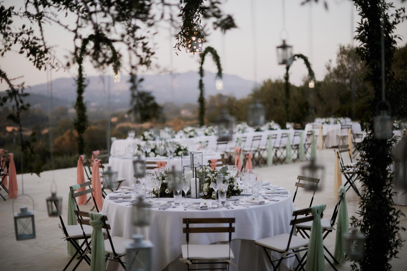 dettagli dei tavoli cena matrimonio San Pantaleo