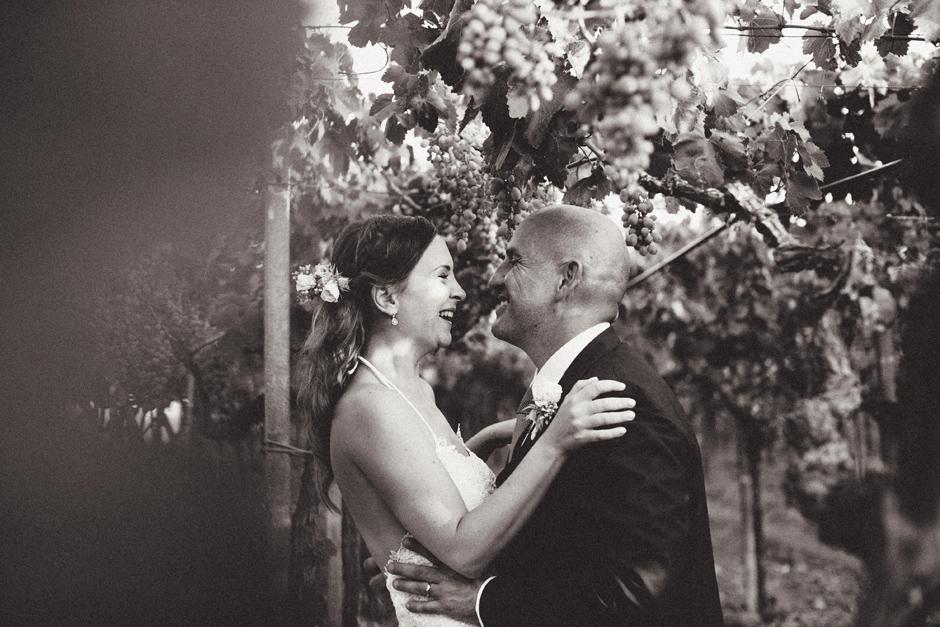 Bride and groom portrait in the vineyard