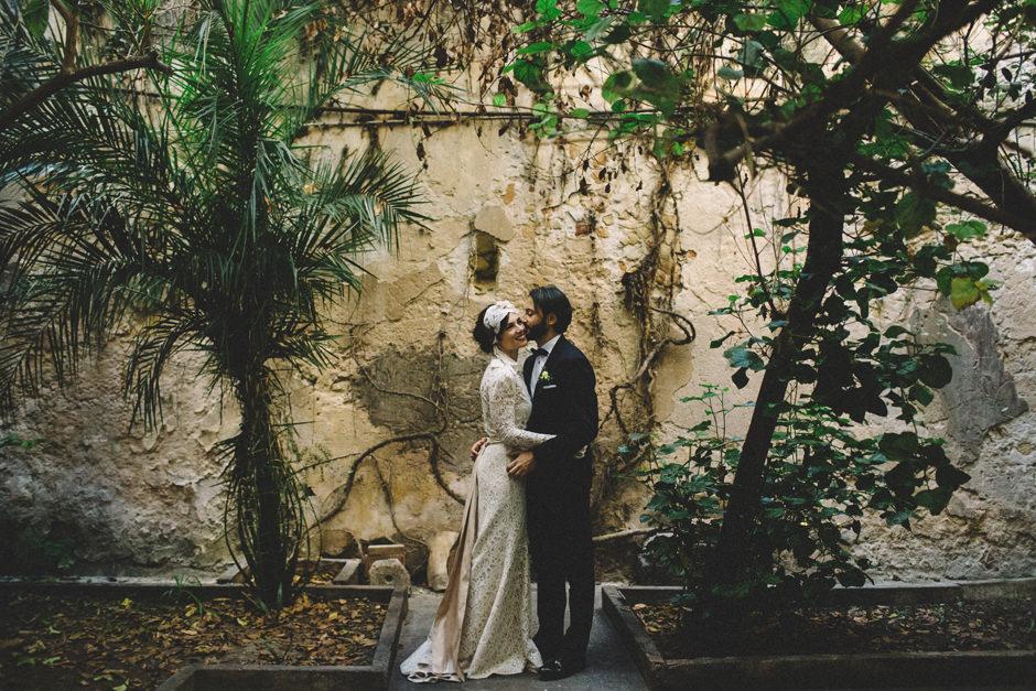 Bride and Groom in the secret garden