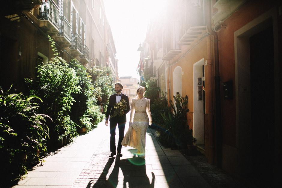 Bride and Groom walking in Cagliari city Center