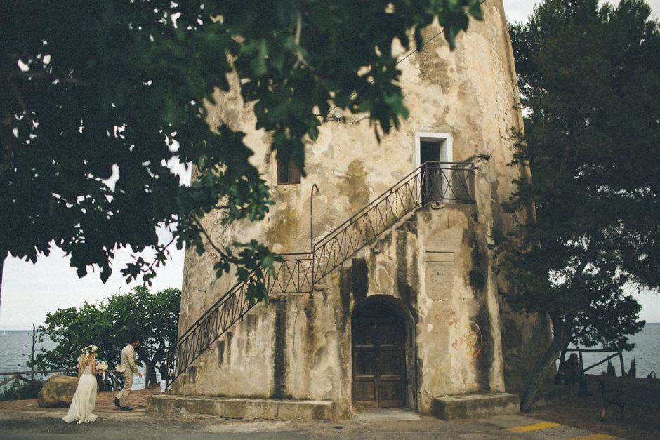 old spanish tower in Santa Maria Navarrese Sardinia