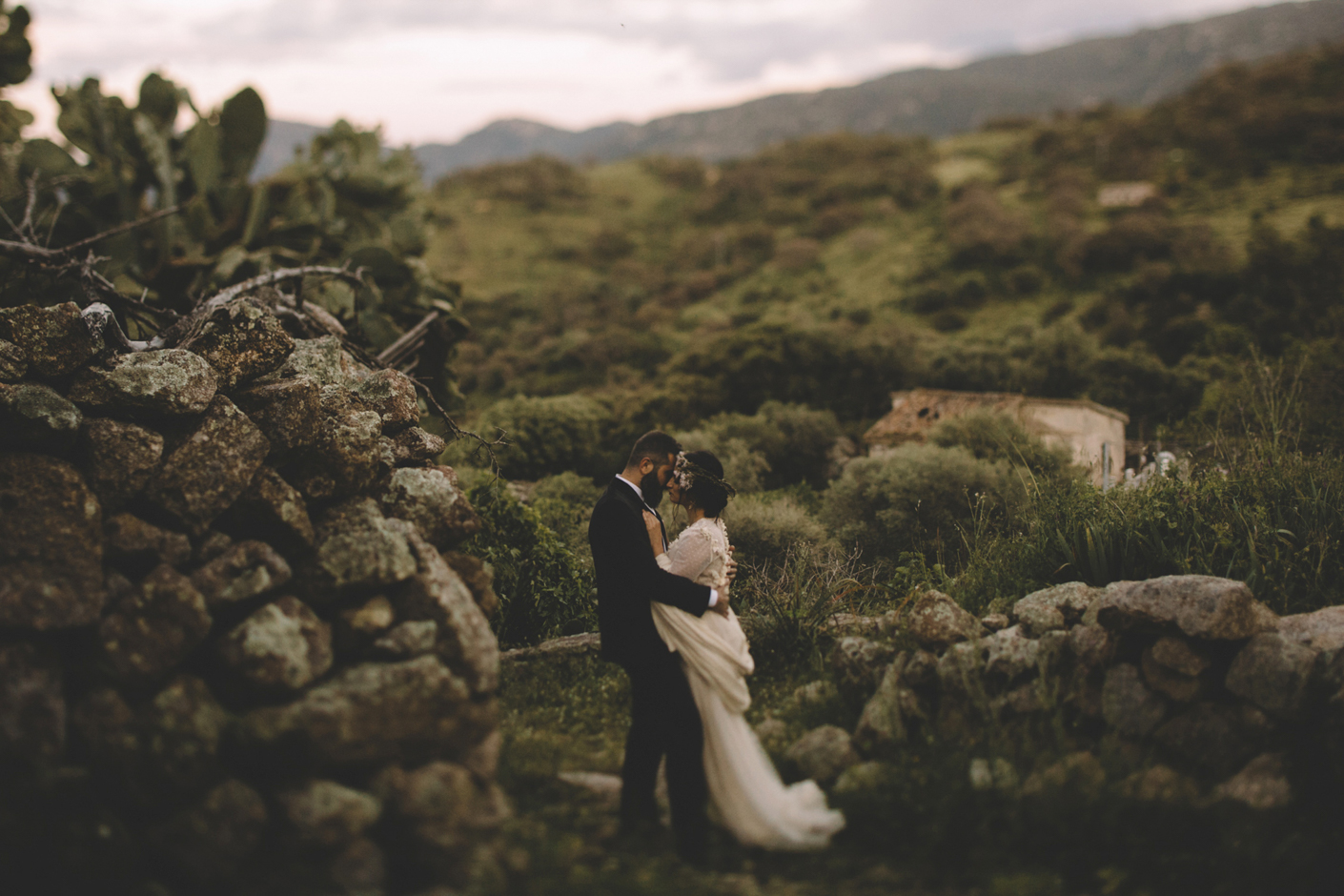 bride and groom in the nature