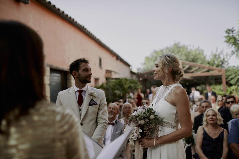 Narelle e Massimiliano durante la cerimonia
